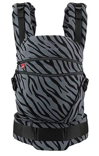 manduca Babytrage XT > Zebra < All-In-One Babytrage für Neugeborene, verstellbarer Sitz, 3 Trage Positionen, Bio-Baumwolle, für Babys von 3,5 bis 20 kg (Limited Edition/Animal Print)