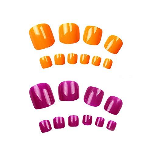 BANGSUN Künstliche Fußnägel, 2 Sets à 200 Stück, volle Abdeckung, Orange, kurz, quadratisch, künstliche Zehennägel