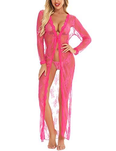 BESDEL Vesti Lunghe Trasparenti per Donna Abito Sexy in Pizzo con Intimo Vedere Attraverso la Camicia da Notte Rose Red M.