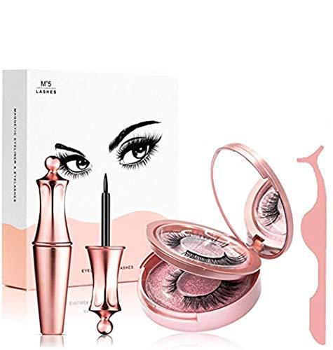 DAPENG Cils Magnétiques, Kit D'eye-Liner Magnétique, 7 Styles Au Choix , Eyeliner Magnétique Réutilisable éTanche , Cils avec Miroir, Applicateur, Pince à éPiler Et Ensemble Exquis Diamond-5 / Rose