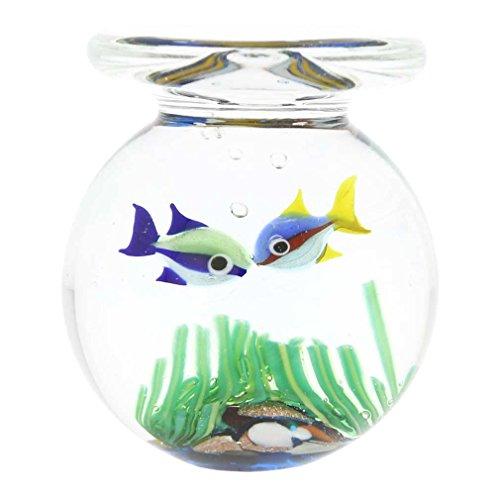Murano Glas Aquarium Jar mit zwei Fischen - 1-3/4 Zoll