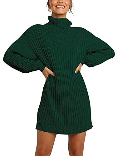 ANRABESS Women Turtleneck Long Sleeve Casual Loose Oversized Baggy Sweater Dress Chunky Warm 240-shenlv-M Dark Green