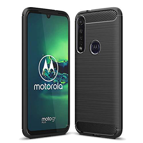 NUPO Hülle für Moto G8 Plus, Silikon TPU Schale Kratzfest Kohlefaser Optik Cover Carbon Fiber Erscheinungsbild Shockproof Schutzhülle Case für Motorola G8 Plus Smartphone (Schwarz)