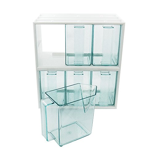 6er Schüttensatz mit Schüttenrahmen weiß inkl 6 Schütten in Glasgrün 267 x 150 x 292 mm, Küchenschütten, Schüttenkasten, Vorratsschütte, Schütte
