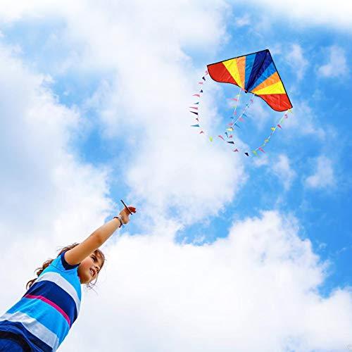 カイト凧凧揚げ微風で揚がる子ども大人初心者用アウトドアおもちゃカラフルカイト三角凧紙鳶軽量丈夫80M凧糸とハンドル収納バッグ日本語説明書付き