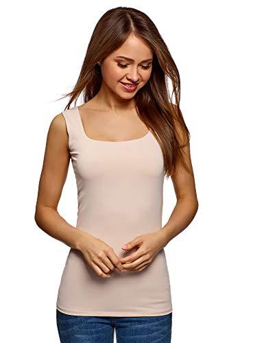 oodji Collection Mujer Camiseta del Tejido Fluido con Tirantes Anchos, Rosa, ES 42 / L