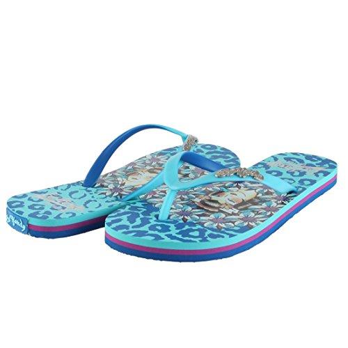 ED HARDY Women's Jungle Flip Flop Sandal - Turquoise - 10