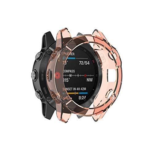 Dongdexiu Cubierta de Reloj Adecuada para Garmin Fenix 6X / 6X Pro Transparente Caja de Reloj del Gel de Silicona TPU (Color : Transparent Orange)