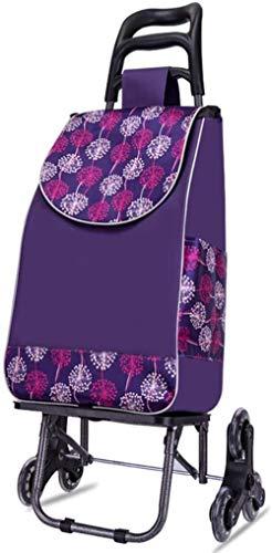 Carro de la compra de alimentos plegable para escaleras, con 6 ruedas, mochila desmontable, impermeable, capacidad de carga 50 kg, color morado