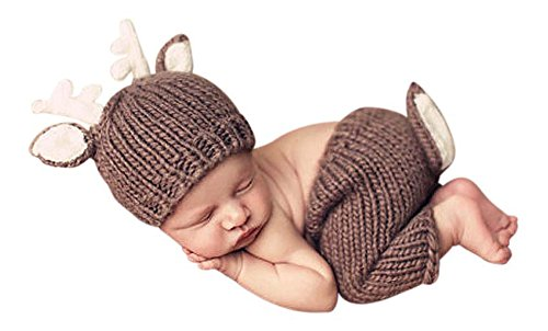 Reindeer Crochet Costume for Baby Photos Knitted Newborn Photo Shoot Brown 0 – 1 Month - 2 Piece