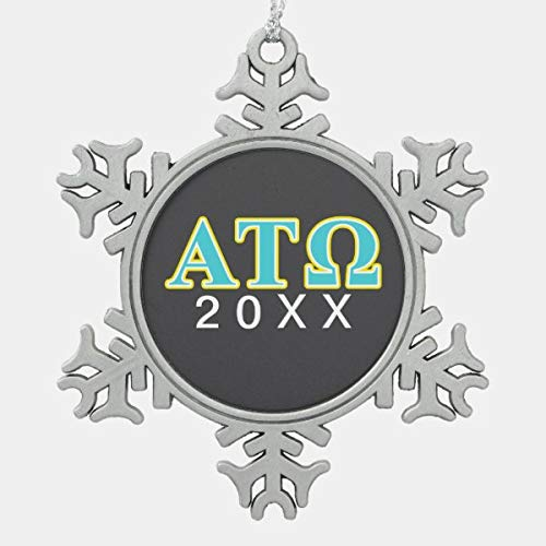 CiCiDi Alpha Tau Omega Blue and Yellow Letters Snowflake Pewter Christmas Ornament, Snowflake Pewter Christmas Ornament Custom Name, Date, Photo