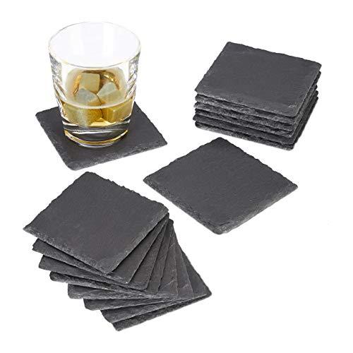 Relaxdays 16x Getränkeuntersetzer Schiefer im Set, quadratisch 10x10 cm, Pflegeleichte Untersetzer, für Gläser, grau
