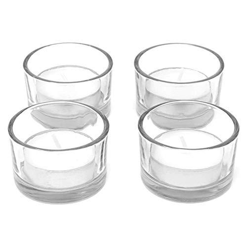 Set von 12 Kreis Teelicht Kerzenhalter | Ideal für Hochzeiten, Inneneinrichtungen, Partys, Tischdekoration und Geschenke Luxus Klarglas | Modernes Design | M&W