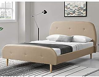 Lit Rembourré Solide avec Sommier à Lattes Lit Double Robuste Confortable Housse en Lin avec Matelas Mousse à Froid 200 x ...