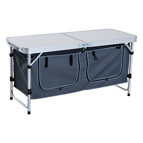 Outsunny Tavolino da Campeggio Picnic con Base per Cibi e Bevande Altezza Regolabile Pieghevole Alluminio, Legno 120x47x55/62/68cm