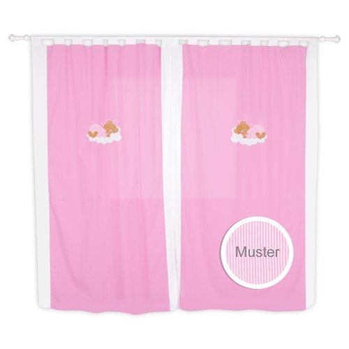 Babyzimmer Kinderzimmer Gardinen Vorhänge mit Schlaufen 5 Farben, Farbe:Rosa