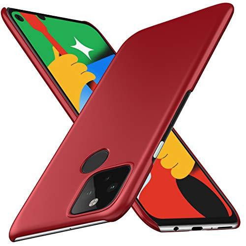 Google pixel 4a 5G ケース SHINEZONE pixel4a 5G レンズ保護 耐衝撃 指紋防止 超薄型 超耐磨 軽量 ピクセル4a 5G スマートフォンケース (Google pixel 4a 5Gケース レッド)