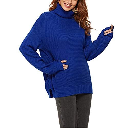 ZFQQ Jersey Suelto de Cuello Alto de Punto Multicolor para Mujer otoño/Invierno