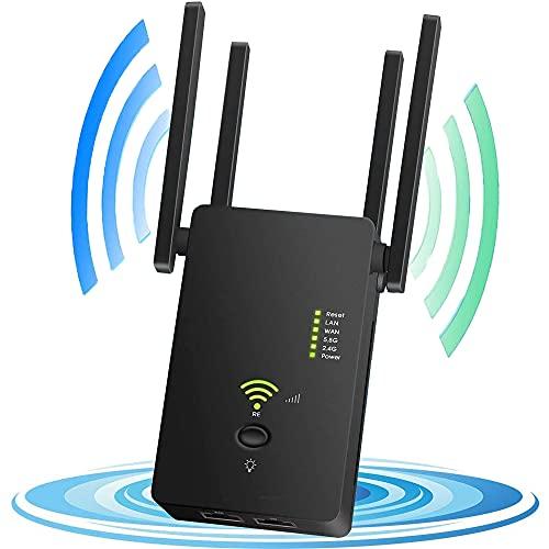 YiYunTE Amplificateur WiFi répéteur 1200 m Dual Band WiFi Range Extender Amplificateur de signal pour Office Home 2.4 5 GHz réseau sans fil avec réseau WAN WPS 4 antennes AP Répéteur