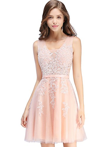Juniors Short Masquerade Ball Gown Lace Semi Formal Dress,Pink,Size 6