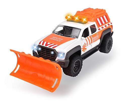 Dickie Toys Schneepflug, Räumfahrzeug, Pick Up Truck, Winterdienst, bewegliche & abnehmbare Schaufel, mit Rückzugmotor, Spielzeugauto aus Druckguss, Licht & Sound, inkl. Batterien, 17 cm, ab 3 Jahren