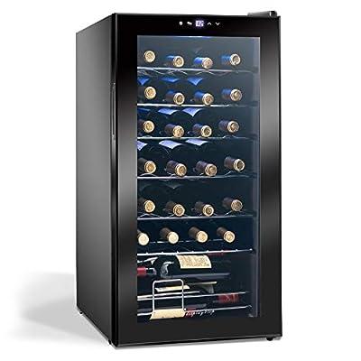 Display4top 28 Bottles Wine Fridge, temperature zones 5-18 ° Touchscreen Wine Cooler,Wine refrigerator,black,82L