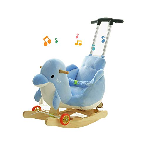 Purchase FGH QPLKKMOI Rocking Horse Wooden Plush Ride on Toys with Wheels, Music Universal Wheel Mul...