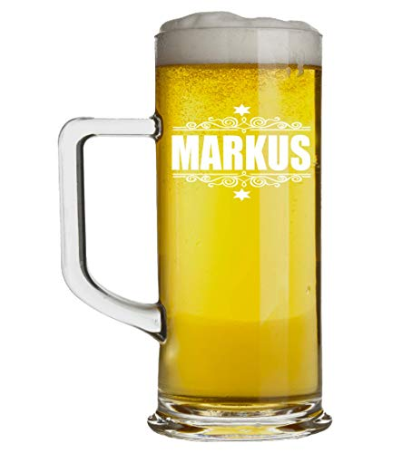 Beschdstoff Bierkrug mit Gravur - Bierglas 0,5 Liter personalisiert mit Name - Geschenk für Männer