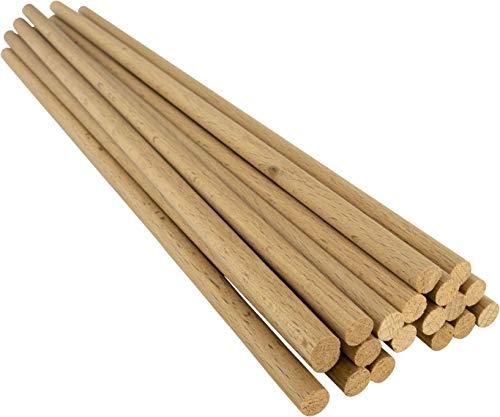 Holzstäbe Lot de 20 Baguettes Rondes en Bois de hêtre Naturel, Ø 8 mm, Longueur 30 cm, modélisme, Bricolage, 8 mm x 30 cm