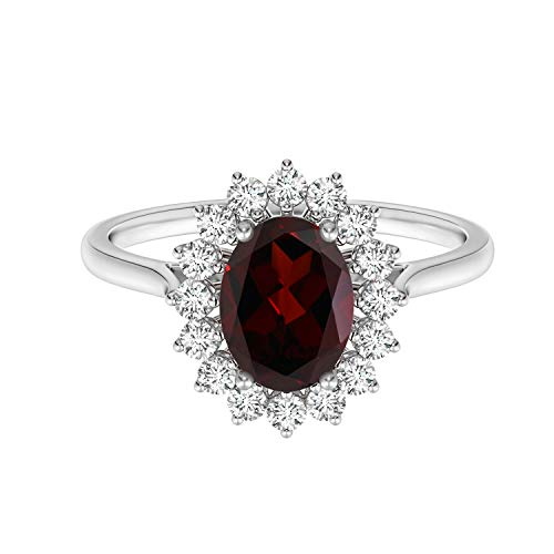 Shine Jewel Princesa Diana Inspirado 925 Plata esterlina Granate Corte Ovalado Halo de Piedras Preciosas Anillo Floral Acentos (14)