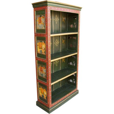 Guru-Shop Geschilderde Boekenplank `Olifant` (JH7-65), Meerkleurig, Mangobos, 180x90x35 cm, Boeken-Wandplanken