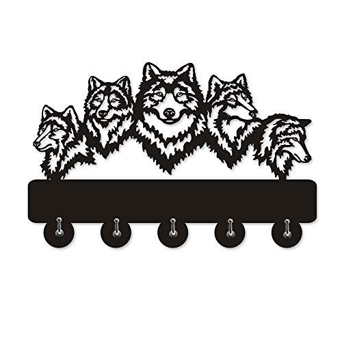 Wildlife Wolf Decorative Wall Hanger Wolf Family Clothes Wall Hooks Coat Rack Keys Holder Organizer Hook