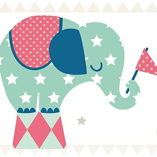 anna wand Bordüre selbstklebend ELEFANTEN BOYS - Wandbordüre Kinderzimmer/Babyzimmer mit Elefanten - Wandtattoo Schlafzimmer Mädchen & Junge,...