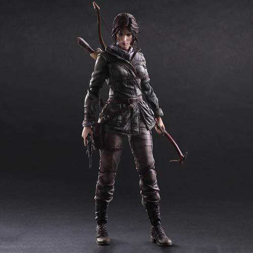 DMCMX Rise of the Tomb Raider Action Game Modell Lara Croft Schauspielerin Archäologe Ganzkörper bewegliches Gelenk Mehr Ersatzteile statischer Charakter Desktop-Dekoration PVC-Material 26cm