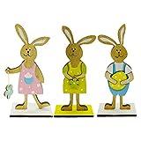 UYT Decoraciones de Pascua 2021, un juego de 3 piezas de Pascua de madera de la familia de conejos, 3 unids/set de conejo de madera familia feliz Pascua decoraciones boda fiesta artesanía