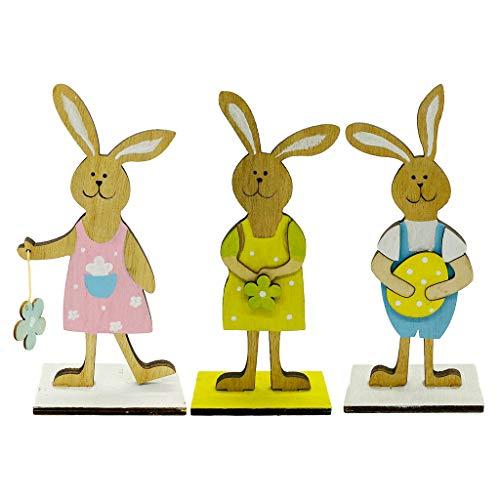 3 Stück Holz Ostern Dekorativer Mit Hase Und Blümchen Als Ausgefallene Osterdeko Familie Frohe Ostern Dekorationen Hochzeitsfeier