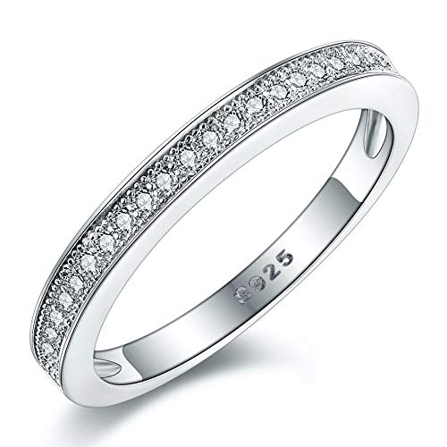 Women's Milgrain-Pave Set STERLING SILVER RING. Vintage Style Half Eternity Wedding Anniversary Band Ring With AAAAA Cubic Zirconia. 925 STAMPED. (R)