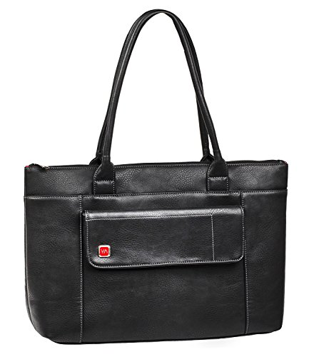 """RIVACASE Tasche UtoteBag für Laptops bis 15.6"""" - Elegante Schultertasche Umhängetasche Tote Bag für Damen aus hochwertigen PU-Leder & viel Stauraum / 8991 Schwarz"""
