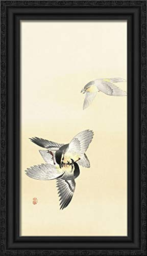 Koson, Ohara 14x24 Black Ornate Framed Canvas Art Print Titled: Two Fighting Birds