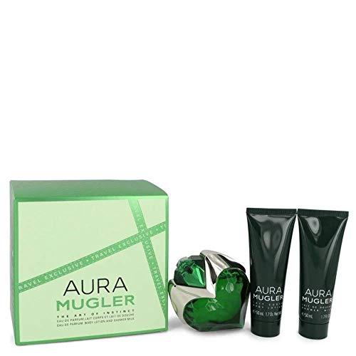 Thierry Mugler Mugler Aura Eau De Parfum Spray + Body Lotion + Shower Milk For Women Gift Set