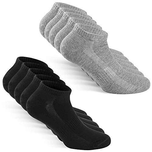 TUUHAW Sneaker Socken Herren Damen Sportsocken 10Paar Halbsocken Kurze Atmungsaktive Baumwolle Schwarz-Grau 43-46