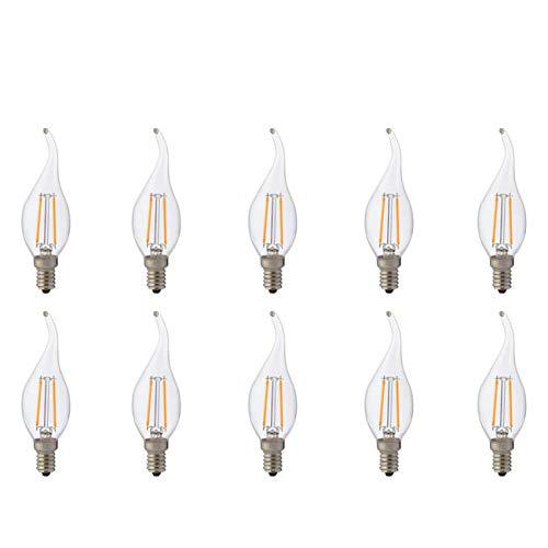 LED Lamp 10 Pack - Kaarslamp - Filament Flame - E14 Fitting - 2W - Natuurlijk Wit 4200K