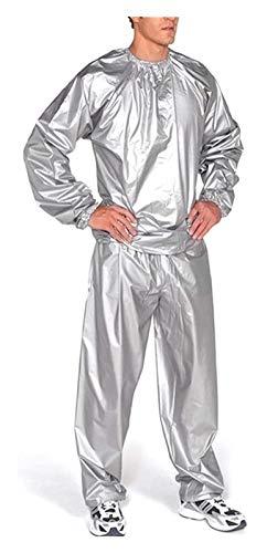 Fitness Sweat Saude Sauna Traje, Pérdida de Peso, Cuerpo Completo Suda Sauna Traje Ejercicio PVC Resistente al desgarro para Hombres y Mujeres (Color : Silver, Size : L)