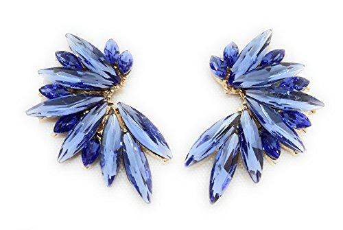 Pendientes cristales coloridos mujer alta bisutería fiesta, chapado oro azul cobalto