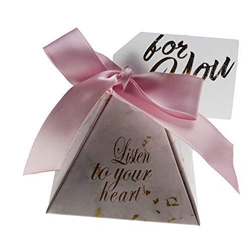 HXSZWJJ Caja de dulces triangular para regalos y regalos de boda, bolsas de dulces para invitados, decoración de boda, suministros de fiesta de ducha, regalo (color rosa, caja de regalo: 100 unidades)