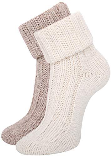 KB Socken Alpakasocken Wintersocken Wollsocken Alpakawolle Schafwolle mit Umschlag Damen 2 Paar (weiß/braun, 39/42)