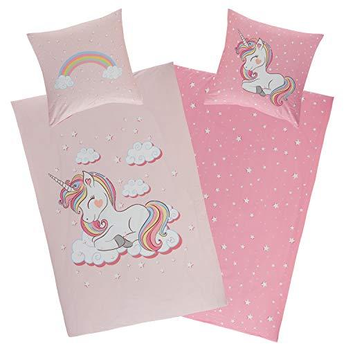 Aminata Kids Bettwäsche Einhorn 135x200, 80x80 cm Mädchen Baumwolle rosa mit YKK Reißverschluss - Wende Kinderbettwäsche - Wende-Kinder-Bettwäsche-Set - Regenbogen, Rose - Einhorn-Motiv, Pferde