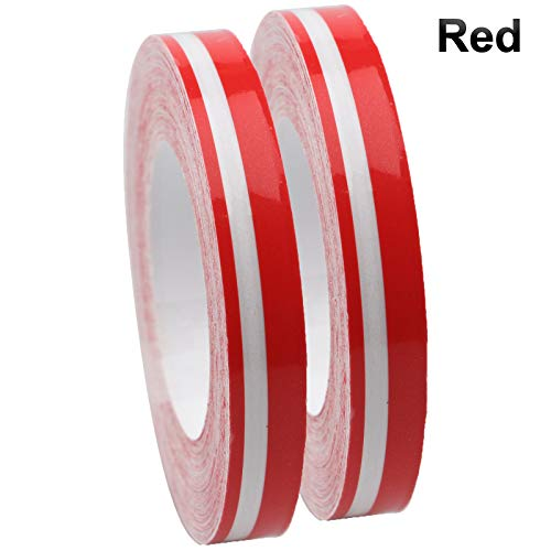 2 Rolls 33Ft (9.8m) Pinstripe Solid Pinstriping Tape Vinyl Car Decal Sticker Glossy 5mm + 2mm (White/Black/Grey/Red/Silver/Blue/Gold) Auto Car Pinstripe Tape (Red)