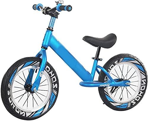 MLL Bicicleta de Equilibrio, neumáticos de Aire de 16 Pulgadas Bicicleta de Equilibrio para niños Grandes de 118-150 cm de Altura, Marco de Aluminio Ligero sin Pedales Bicicleta, para niños tee
