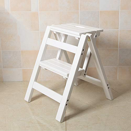 Folding Ladder Staircase Multi-Functional Folding Solid Wood Ladder Stool,Step Stool Household Muliti-Color Stool Step Ladder Foldable Stepladder,White,Two